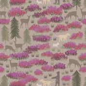 Lewis & Irene A Walk in the Glen - 4866 - Dog Walks in The Glen, Bright Purple & Cerise on Pale Pink - A156.3 - Cotton Fabric
